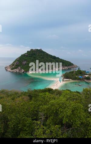 Nang Yuan national park island high angle view, Ko Tao island, Thailand - Stock Image