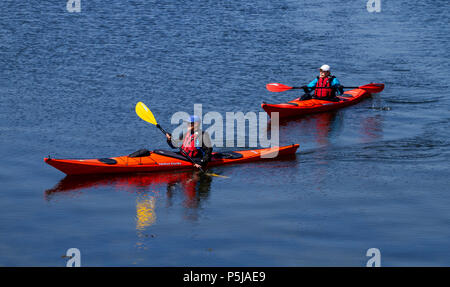 Dundee, Tayside, Scotland, UK. 27th June, 2018. UK weather: Two people enjoying the hot sunny weather Kayaking down the River Tay along Broughty Ferry beach in Dundee with temperatures reaching 20º Celsius. Credits: Dundee Photographics / Alamy Live News - Stock Image
