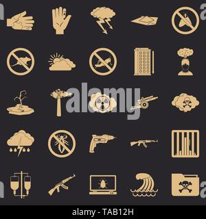 World tension icons set, simple style - Stock Image