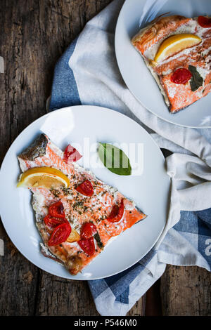 Baked rainbow trout fillet - Stock Image