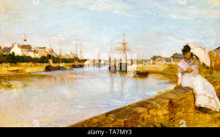 Berthe Morisot, The Harbor at Lorient, Brittany, France, landscape painting, 1869 - Stock Image