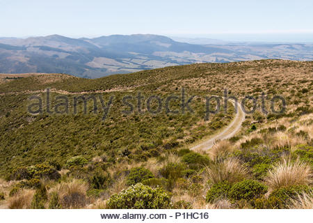 Road on hills at Mt.Thomas conservation area, Canterbury, New Zealand - Stock Image