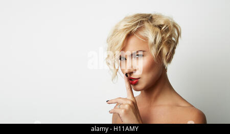 Portrait Handsome Young Woman Blonde Hair Wearing Dress Empty White Background.Beauty Fashion Lifestyle People Photo.Pretty - Stock Image