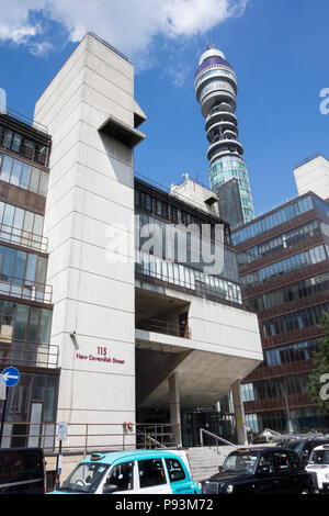 The BT Tower from New Cavendish Street (previously know as the GPO Tower, the Post Office Tower and the Telecom Tower). - Stock Image