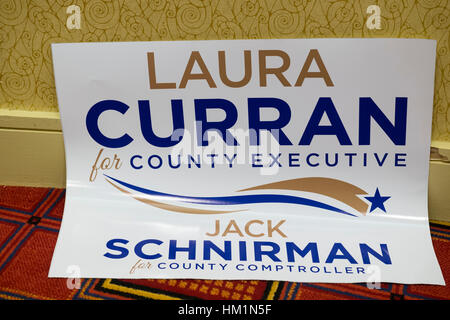 New York, USA. 30th Jan, 2017. A sign supporting Democrats Laura Curran, candidate for Nassau County Executive, - Stock Image