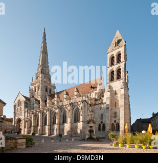 Saint Nazaire Cathedral Autun Burgundy France with gothic spire seen from Place St Louis showing gothic spire and - Stock Image