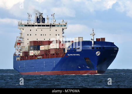 Feedervessel Delphis Bothnia heading for the Kiel Canal - Stock Image