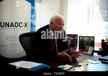 New York, USA. 4th Apr, 2019. Miguel Angel Moratinos, High Representative for the United Nations Alliance of Civilizations (UNAOC), speaks during an interview with Xinhua in New York, the United States, April 4, 2019. The China-proposed Belt and Road Initiative (BRI) is extremely visionary, very timely and able to help boost the common development of mankind, said the chief of the United Nations Alliance of Civilizations (UNAOC) . Credit: Li Muzi/Xinhua/Alamy Live News - Stock Image
