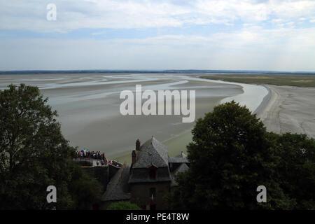 View of Baie de Mont St Michel at low tide from Remparts, Le Mont Saint Michel, Manche, Normandy, France - Stock Image