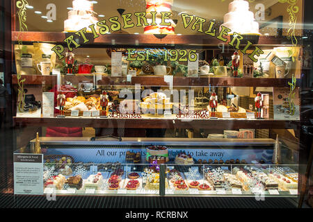 Patisserie Valerie,Fancy,Christmas,Cake Display,Pastries,cakes,tarts - Stock Image