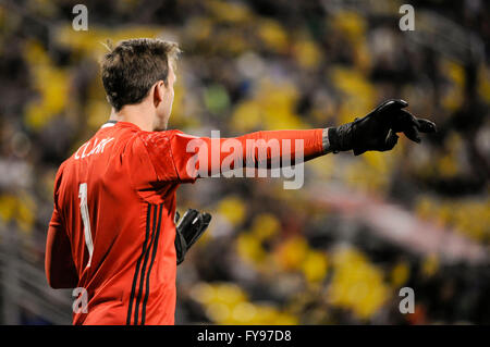 Mapfre stadium, USA. 23rd April, 2016. .Columbus Crew SC goalkeeper Steve Clark (1) in the second half of the match - Stock Image