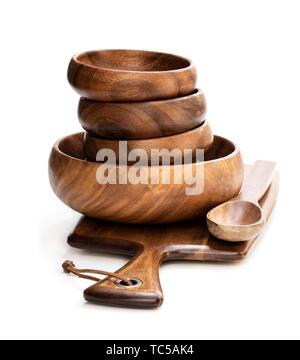 Set of  olive wooden utensil isolated on white - Stock Image