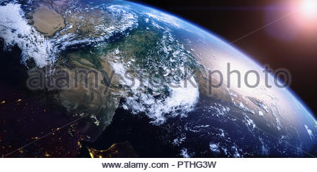 India, Pakistan and Persian Gulf from space - Stock Image