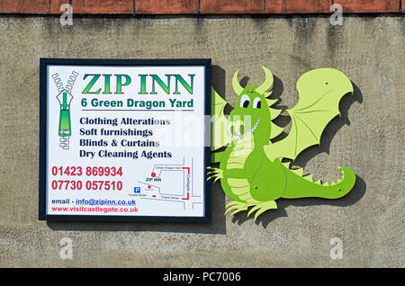 Sign for the Zip Inn, Green Dragon Yard, Knaresborough, North Yorkshire, England UK - Stock Image