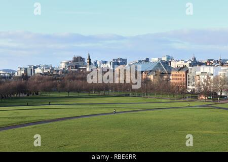 Looking north west over Glasgow Green and the city centre skyline of Glasgow, Scotland, UK, Europe - Stock Image