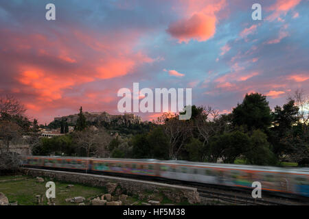 Winter Sunset at Acropolis hill , view from Monastiraki - Stock Image