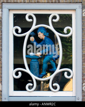 Window over door of the silverhouse in Schoonhoven Zuid Holland The Netherlands - Stock Image