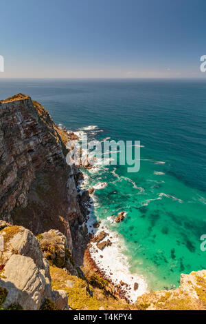 View at Cape point with bushes and ocean, Cape point, South Africa - Stock Image