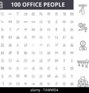 Office people line icons, signs, vector set, outline illustration concept  - Stock Image