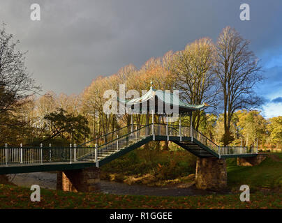 The Chinese Bridge over the Lugar Water. Dumfries House, Cumnock, East Ayrshire, Scotland, Unired Kingdom, Europe. - Stock Image