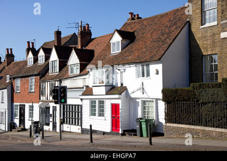 Historic buildings on Holywell Hill, main southern entrance into the old town, St Albans, Hertfordshire, England, - Stock Image