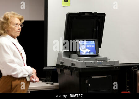 DS200 Precinct scanner & tabulator optical scan voting system in a polling place - Fairfax County, Virginia USA - Stock Image