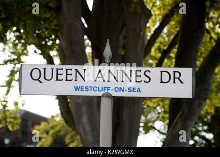 Queen Annes Drive road sign street sign in Westcliff on Sea, Essex. Space for copy - Stock Image