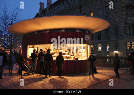 Zen Cafe near the London Eye South Bank at night - Stock Image