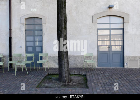 A detail of one of the courtyards of the Fondazione Prada cultural complex, Milan, Italy - Stock Image