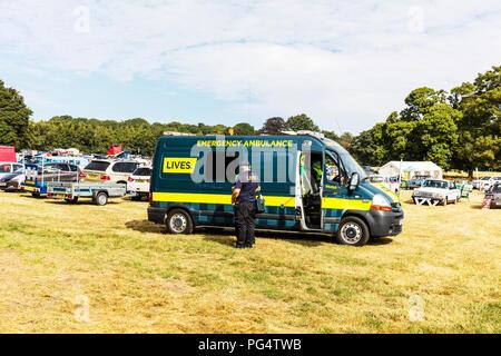 Lives Ambulance, Lives Emergency ambulance, ambulance parked, lives, waiting for emergency, lives ambulance service, lives charity lincolnshire - Stock Image