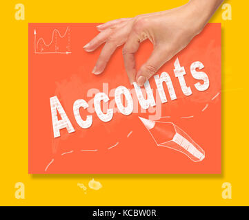 A hand picking up a Accounts concept on a colorful drawing board. - Stock Image
