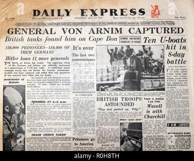 WWII Second World War 2 newspaper headline article Daily Express paper 'General Von Arnim Captured'  'Hitler loses 11 more generals' UK  13 May 1943 - Stock Image