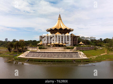 The Sarawak State Legislative Assembly Building  in Kuching, Sarawak, Malaysia BY DRONE - Stock Image
