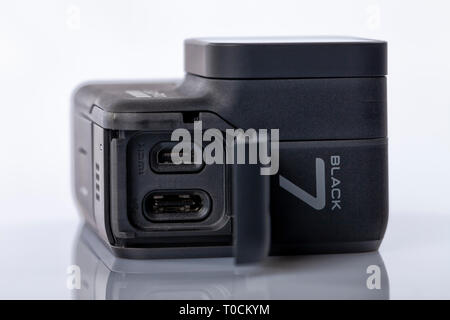 Detail of the connections of the new GoPro Hero 7 Black isolated on white. - Stock Image
