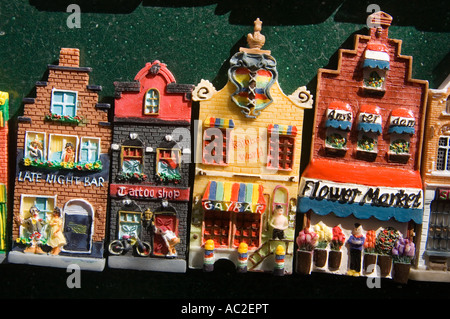 Amsterdam flower market Detail of souvenirs of dutch houses - Stock Image