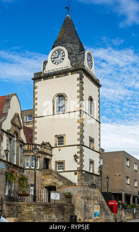 The Tollbooth Tower with the Jubilee Clock, South Queensferry, Edinburgh, Scotland, UK - Stock Image