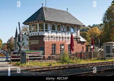 Old signal box, now Bistro, Bad Driburg, NRW, Germany. - Stock Image