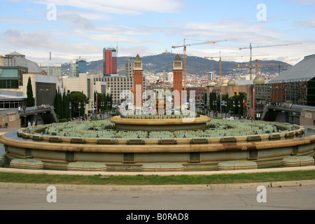 View of Placa d'Espanya from Palau Nacional and Museu Nacional d'Art de Calatalunya, Catalonia, Barcelona, - Stock Image