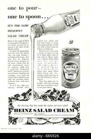 1939 UK Magazine Heinz Salad Cream Advert - Stock Image