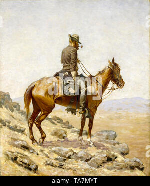 Frederic Remington, The Lookout, painting, 1887 - Stock Image