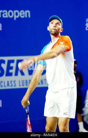 Pune, India. 4th January 2019. Ivo Karlovic of Croatia in action in the first semi-final of singles competition at Tata Open Maharashtra ATP Tennis tournament in Pune, India. Credit: Karunesh Johri/Alamy Live News - Stock Image