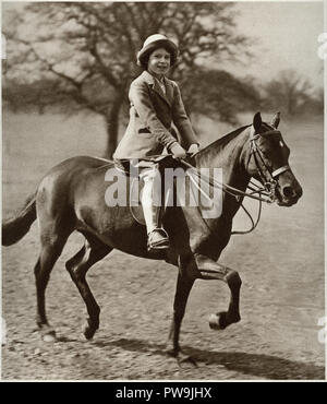 Princess Elizabeth the future Queen Elizebeth II riding a pony in Windsor Great Park Windsor castle dated to 1937 - Stock Image