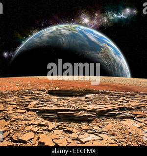 An artist's depiction of the view from a rocky and barren alien moon. An Earth-like planet rises over the airless - Stock Image