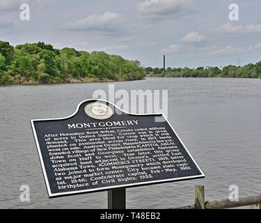 Montgomery Alabama historical marker on the bank of the Alabama River explaining the history of the City of Montgomery from founding to present. - Stock Image
