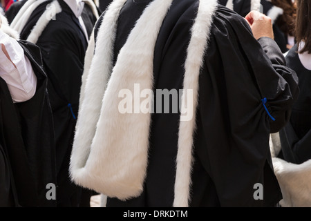 Cambridge University students gowns on Graduation day, England - Stock Image