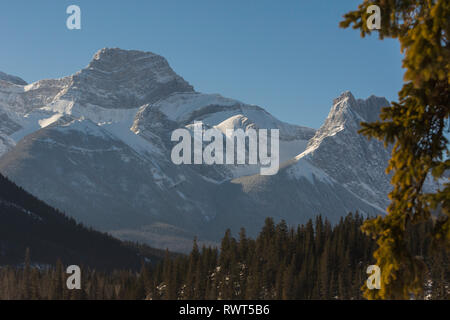 Snow covered mountain near Canmore, Alberta, Canada, Canadian Rockies - Stock Image