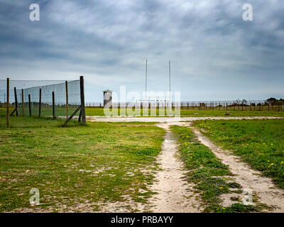 Sports field on Robben Island, Cape Town, South Africa, that held political prisoners, such as Nelson Mandela, during the apartheid era - Stock Image