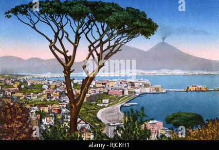 Panorama of Naples, Italy, from Virgil's Tomb, with Mount Vesuvius in the distance. - Stock Image