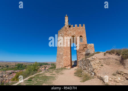 famous tower known as La Martina, landmark and public monument from Arab age, in top of old town of Ayllon village, Segovia, Spain, Europe - Stock Image