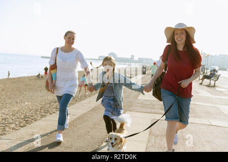 Lesbian couple walking with daughter and dog on sunny beach boardwalk - Stock Image